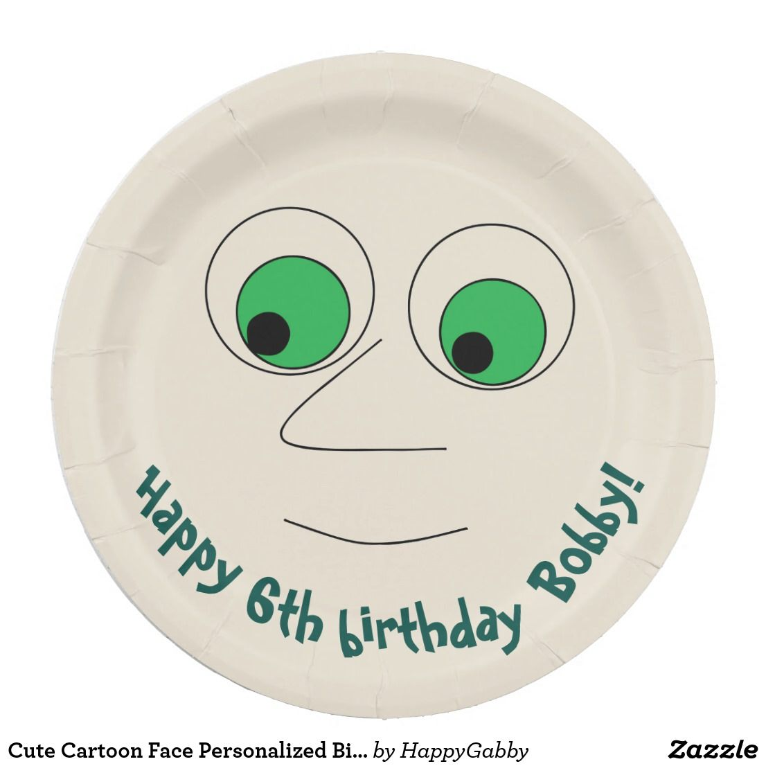Cute Cartoon Face Personalized Birthday Paper Plate  sc 1 st  Pinterest & Cute Cartoon Face Personalized Birthday Paper Plate | Creative ...