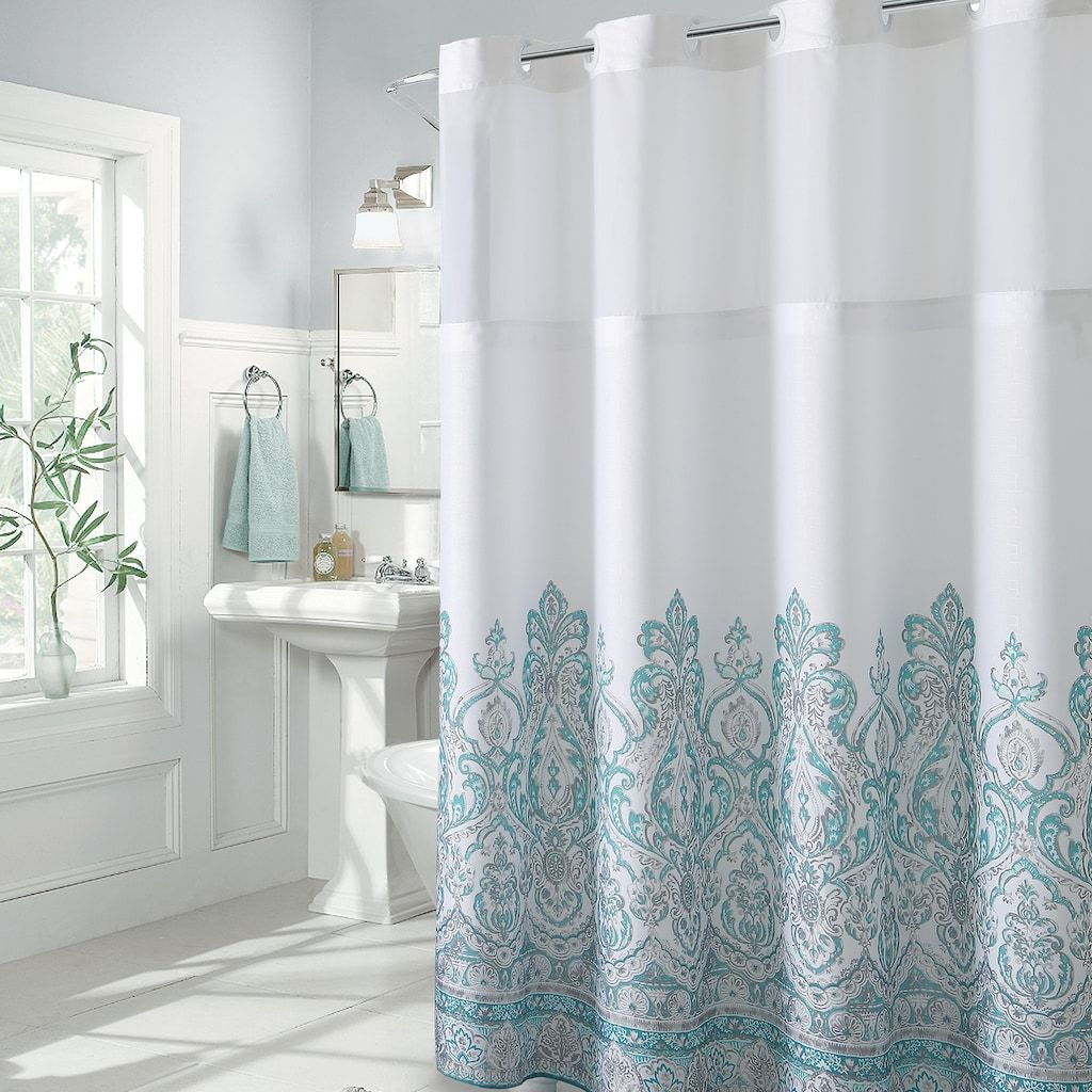 Hookless Damask Border Shower Curtain Peva Liner Green 71x74