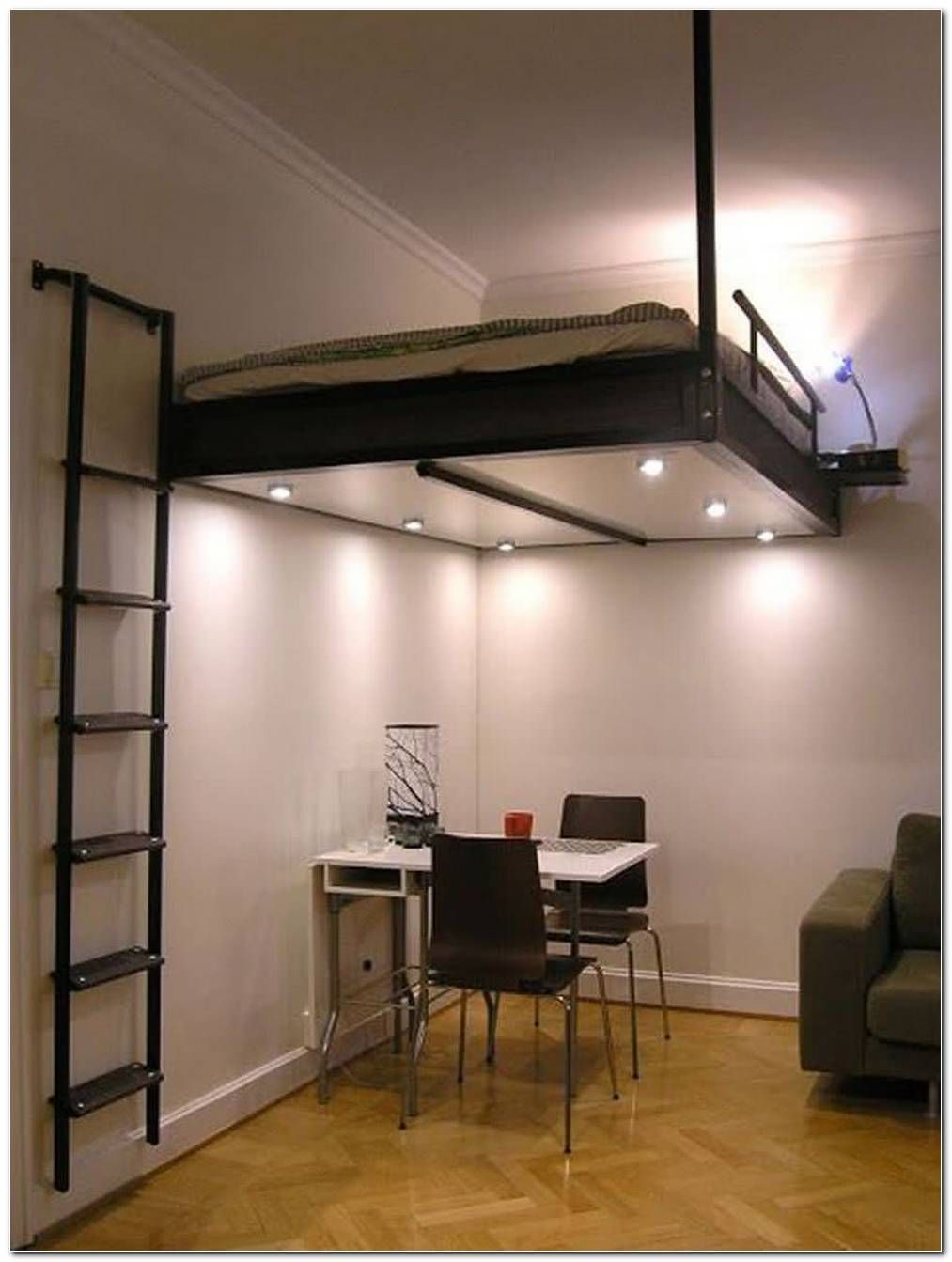 Camas Elevadas Para Casais In 2020 Loft Beds For Small Rooms Space Saving Beds Adult Loft Bed