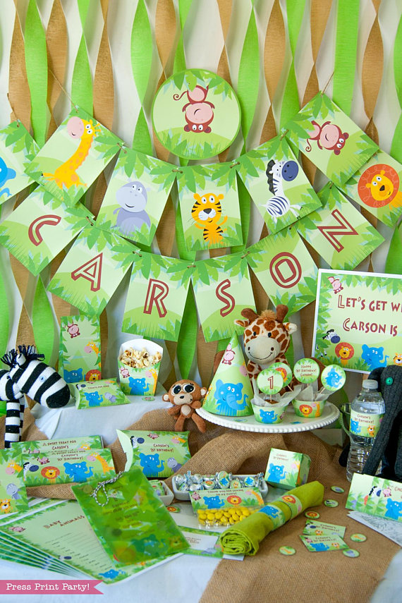 Jungle Party Decorations Birthday Printables Safari For Boys Theme