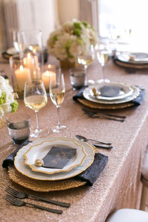 Rose Gold And Black Wedding Table Set Up Ideas Wedding