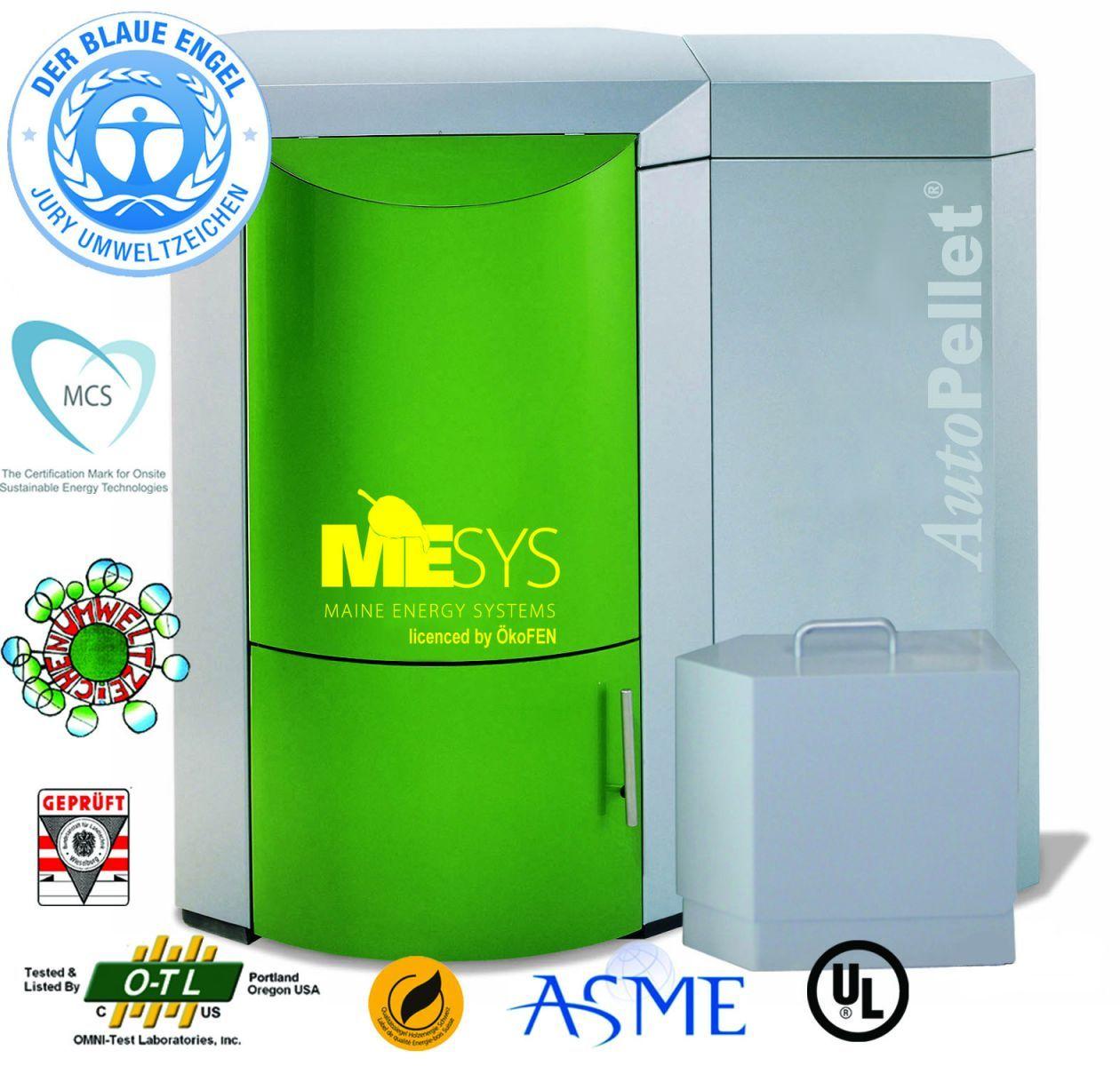 Wood pellet boiler heating system. MESys licensed OkoFEN ...