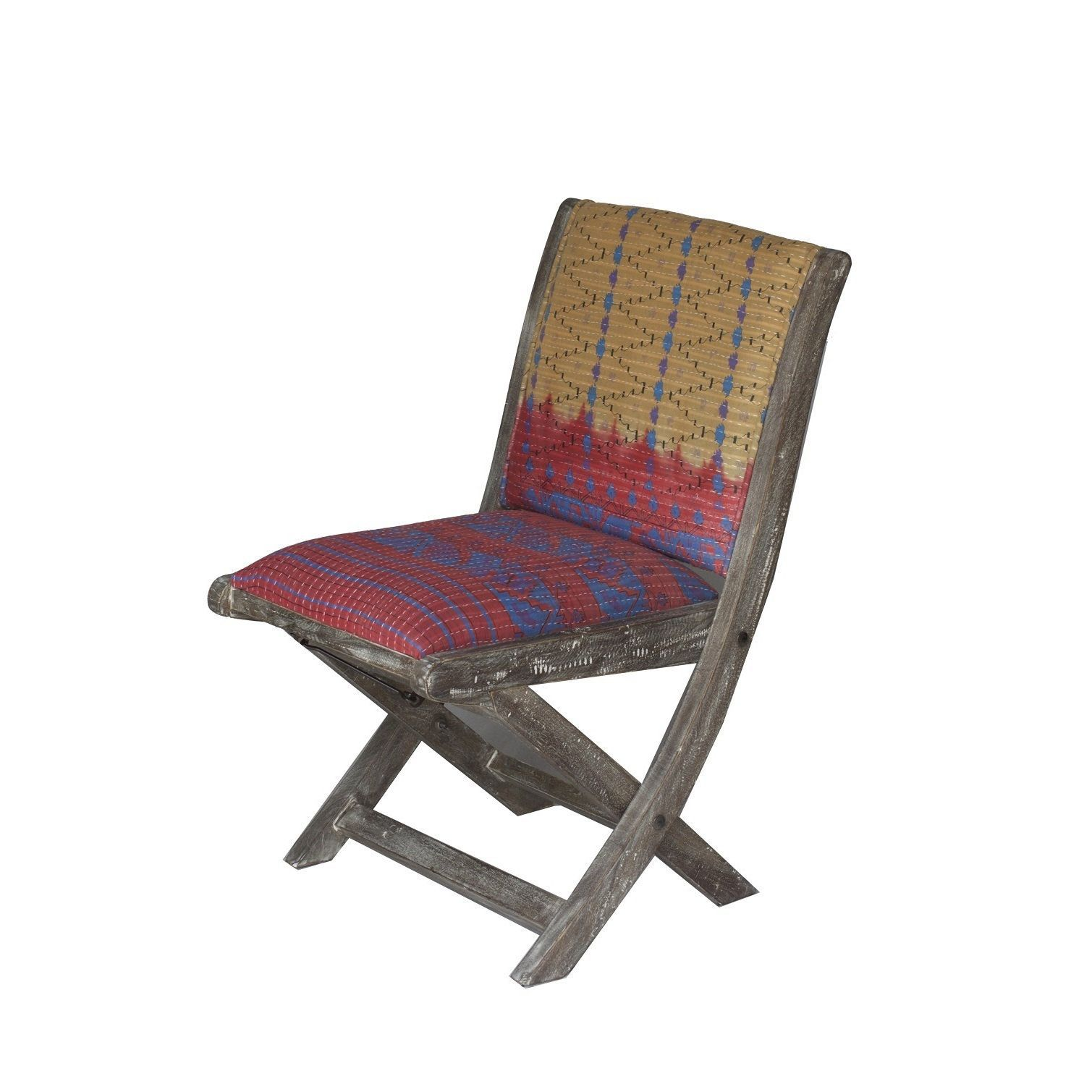 Handmade red blue yellow floral pattern folding accent chair india single folding kantha chair g black cotton
