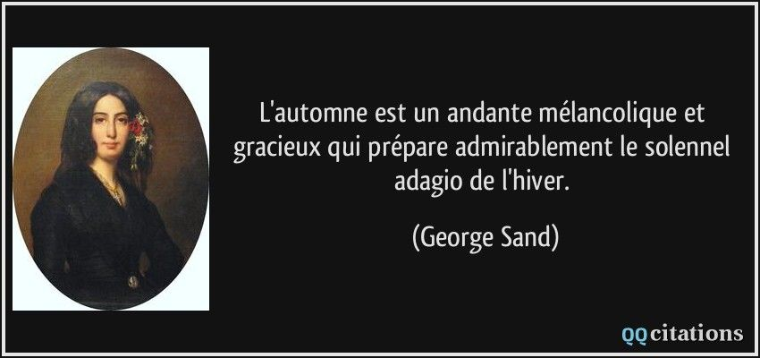 L'automne est un andante mélancolique et gracieux qui prépare admirablement le solennel adagio de l'hiver. (George Sand) #citations #GeorgeSand