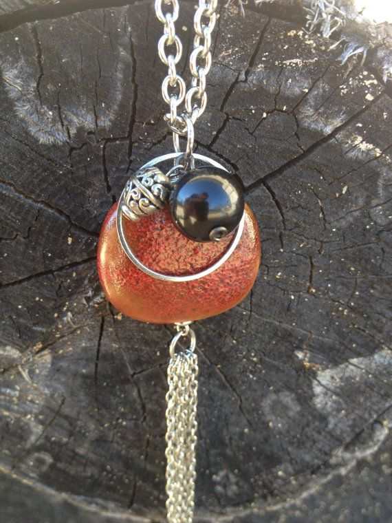 Red stone pottery bead charm necklace with silver by jhawkdesigns, $10.00