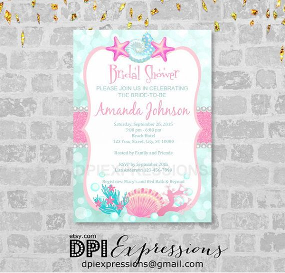 Beach bridal shower invitation sea shells and by dpiexpressions beach bridal shower invitation sea shells and pearls invitation pink and turquoise under the sea bridal shower invite digital or printed filmwisefo Images