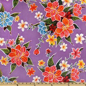 Oil Cloth Hibiscus Purple Home Decor Fabric Arts Crafts Sewing
