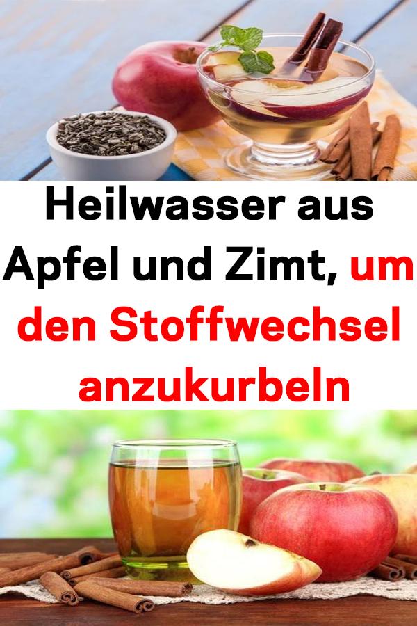 Heilwasser aus Apfel und Zimt, um den Stoffwechsel..