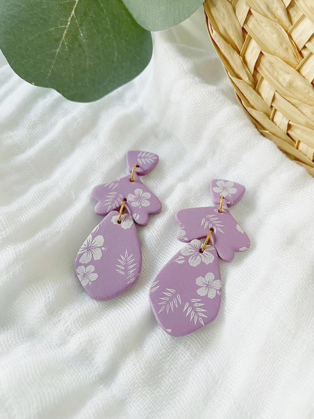 Hibiscus Clay Drop Earrings – Adult Drop / 18K Gold