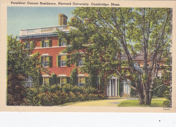 President Conant Residence, Harvard University, Cambridge, Mass. - Vintage Linen Postcard -Unused