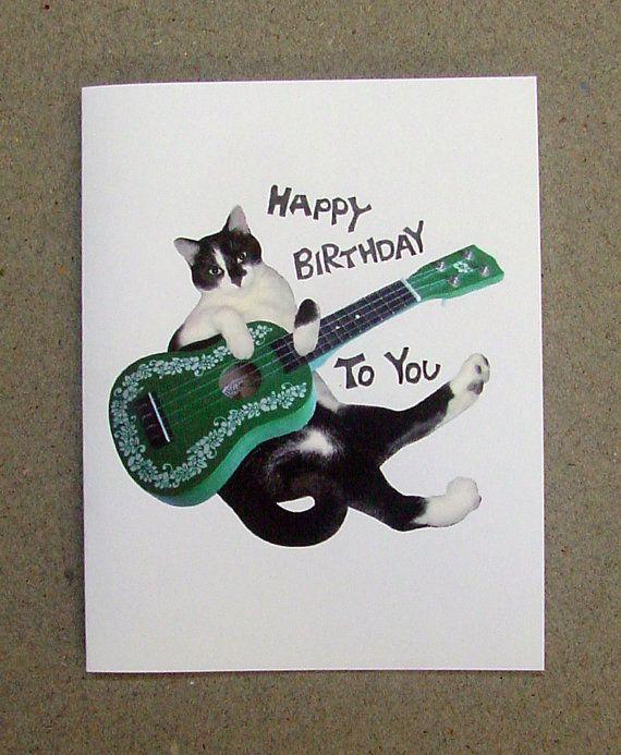 Cat Ukulele Printable Birthday Card Birthday Cards Pinterest