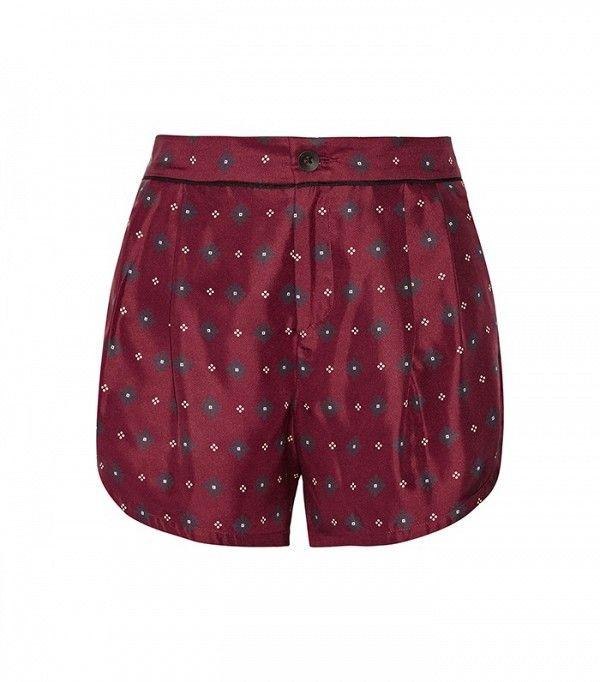 Rag&Bone Gabrielle Printed Silk-Twill Shorts