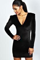 Boohoo Kate Velvet Plunge Neck Bodycon Dress