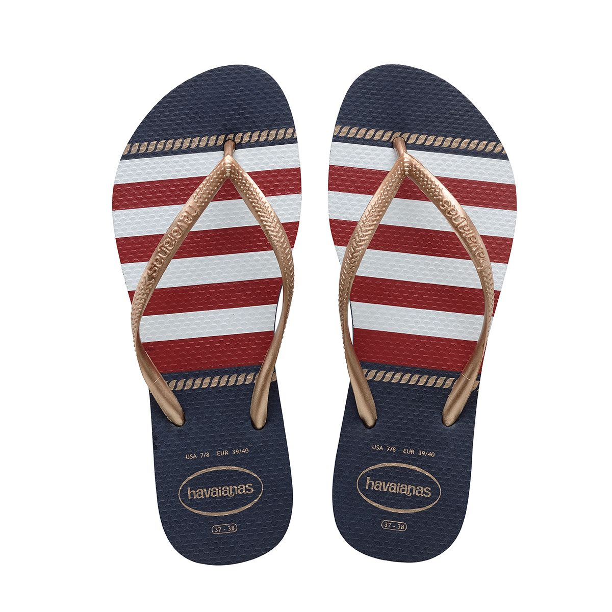 Hoist the anchor & set sail in the Women's Slim Nautical Flip Flop Sandal.  Featuring classic nautical motifs in red, white, & navy blue.