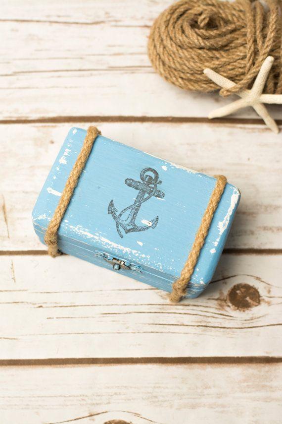 Beach Wedding RIng Box Nautical Ring Holder Pillow Wooden Box Anchor