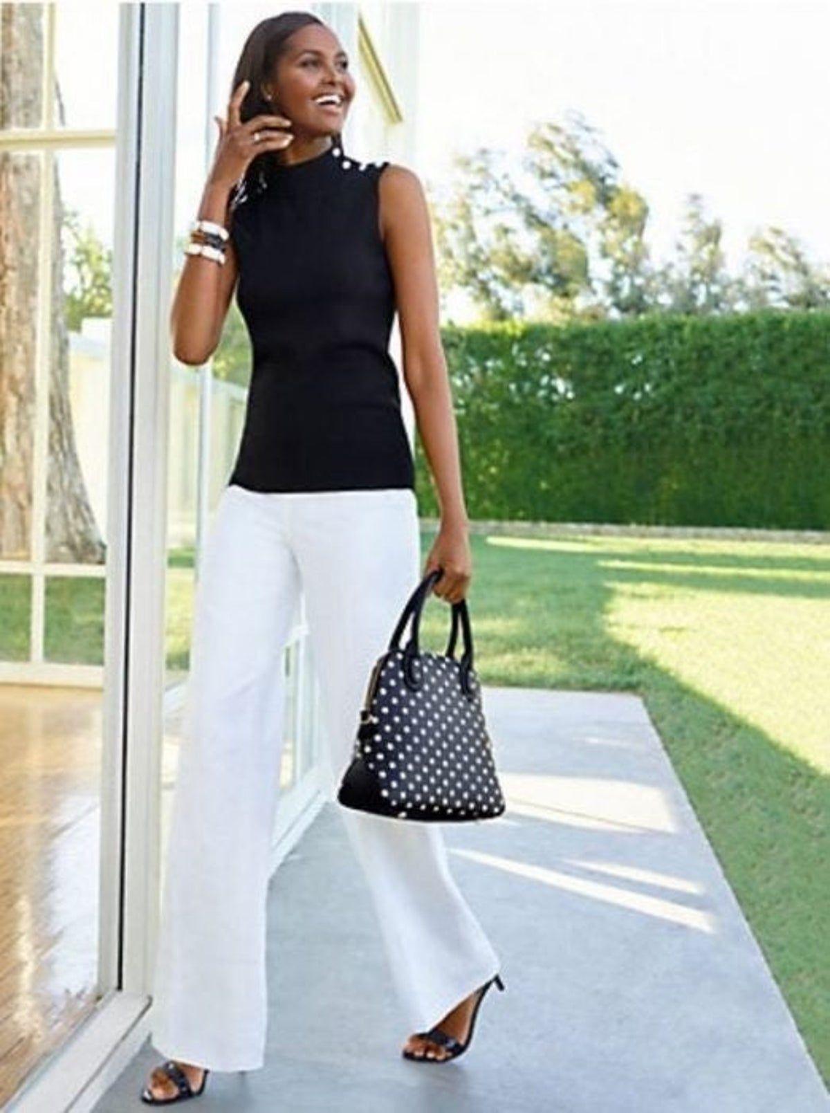 Women S Rafaella White Dress Pants White Linen Pants Outfit Linen Pants Outfit White Dress Pants [ 1609 x 1200 Pixel ]
