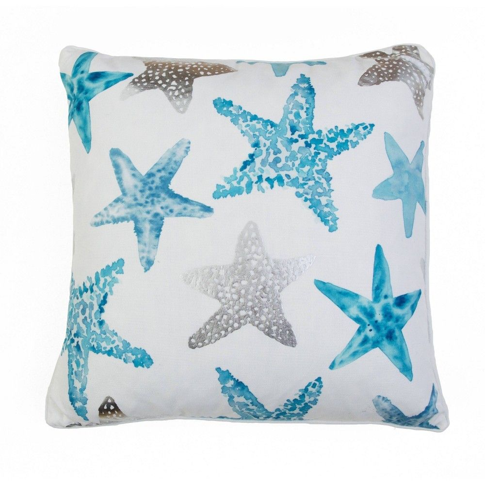 Photo of Décor Therapy 20″x20″ Todrina Starfish Throw Pillow White/Blue