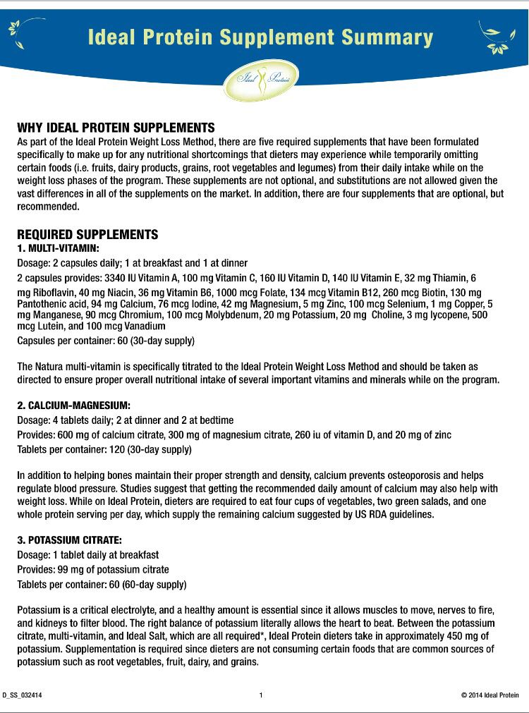 Ideal Protein Supplements Pg 1