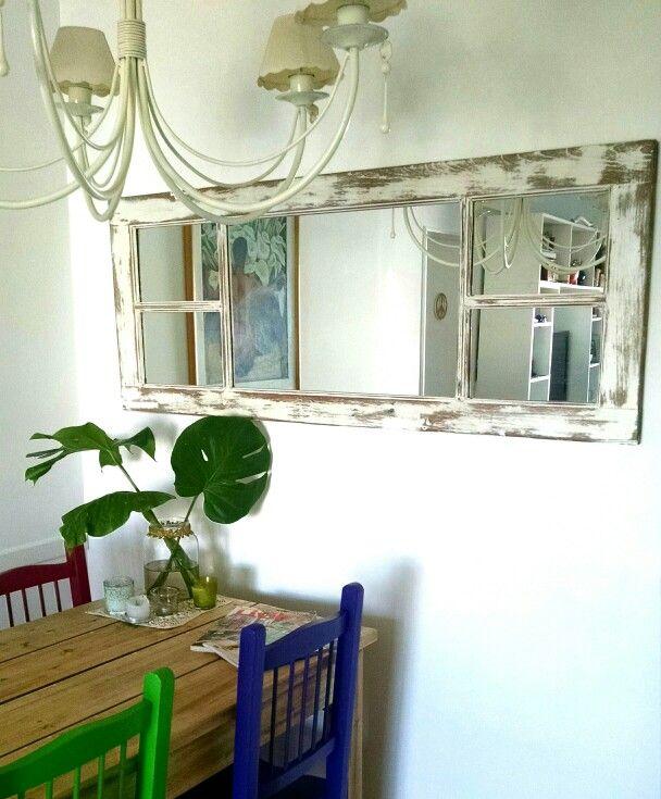 Espejo ventana restaurada deco espejos ventana for Restauracion de puertas antiguas