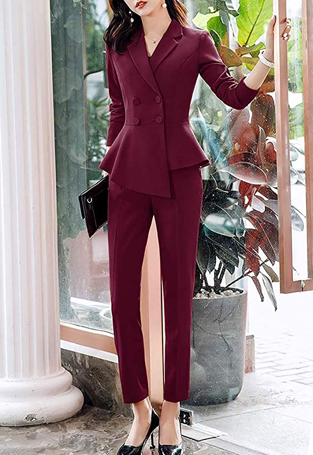 LISUEYNE Women/'s Elegant 2 Piece Office Lady Business Suit Set Slim Fit Work Suits for Women Blazer Jacket,Skirt Suits