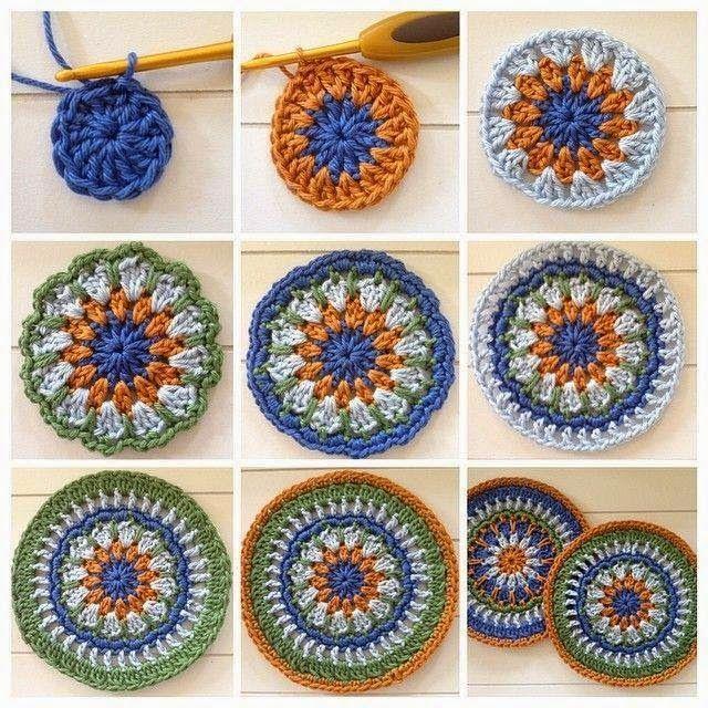 Posavaso o agarradera en lana de 4 colores con ganchillo paso a paso ...
