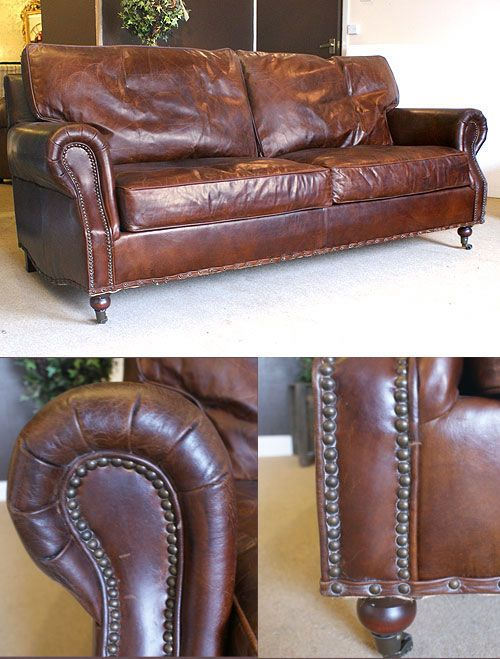 Distressed Vintage Leather 3 Seater Sofa Buy From The French Furniture Specialist