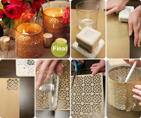 DIY Wedding Reception Dcor, How To Make Patterned Candle Holders, Punched  Paper DIY, Floating Candles, Expert Ideas
