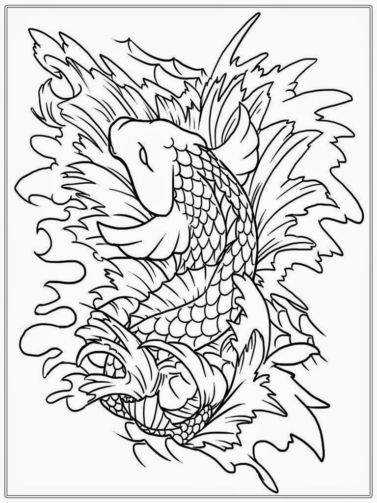 koi fish adult coloring pages free - Koi Fish Coloring Pages