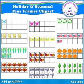 Seasonal  Holiday Tens Frames Clipart  Ten Frames Math