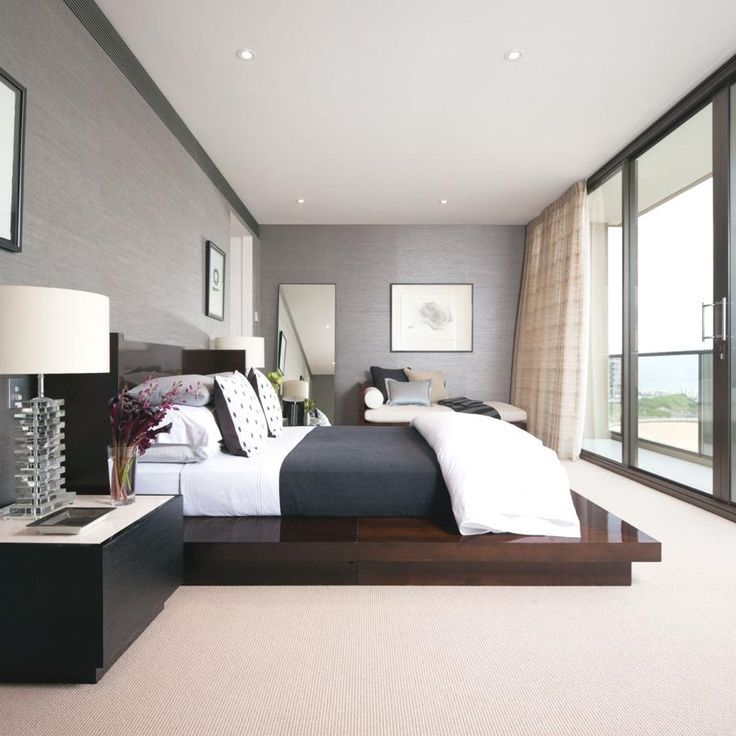 contemporary master bedroom inspiration with low wood bed and black and white sheets the grey - Contemporary Bedrooms