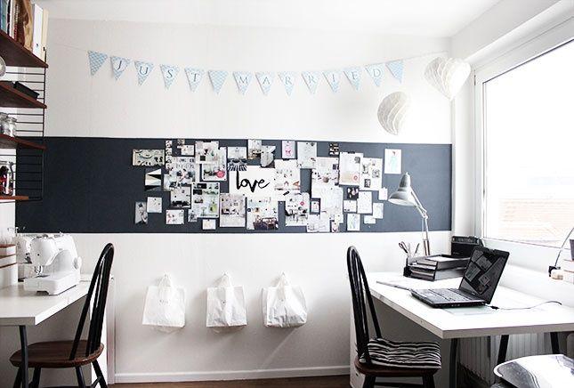 eine pinnwand selber machen und deko ideen homedeko pinterest arbeitszimmer buero und arbeit. Black Bedroom Furniture Sets. Home Design Ideas
