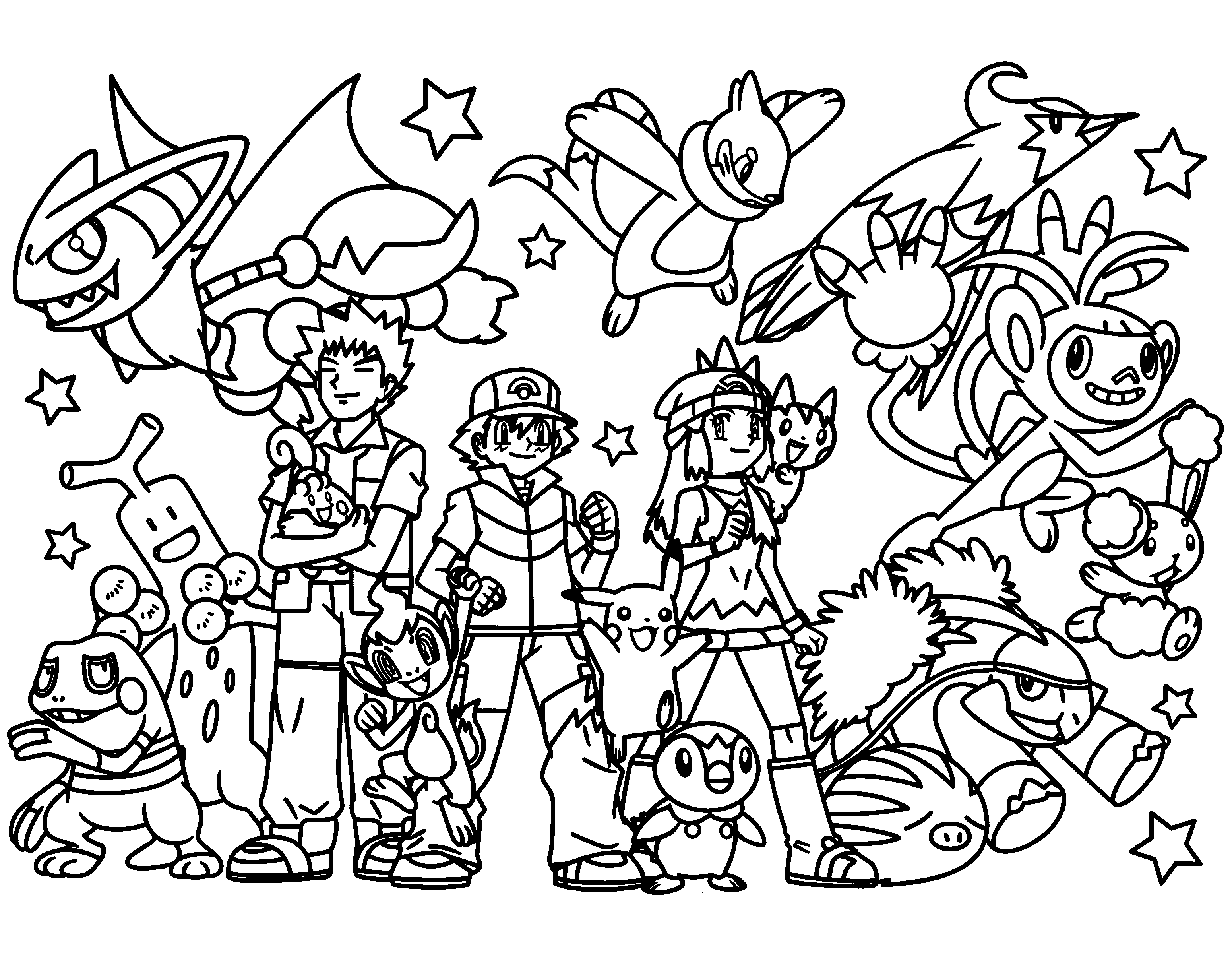 Ash Brock and Dawn coloring page Pokemon coloring