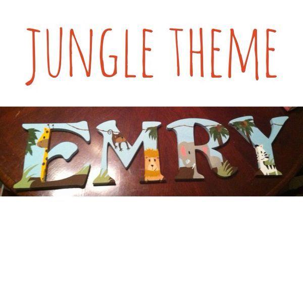 Nursery wall name. Emry. #nursery #jungletheme #kidsrooms ...