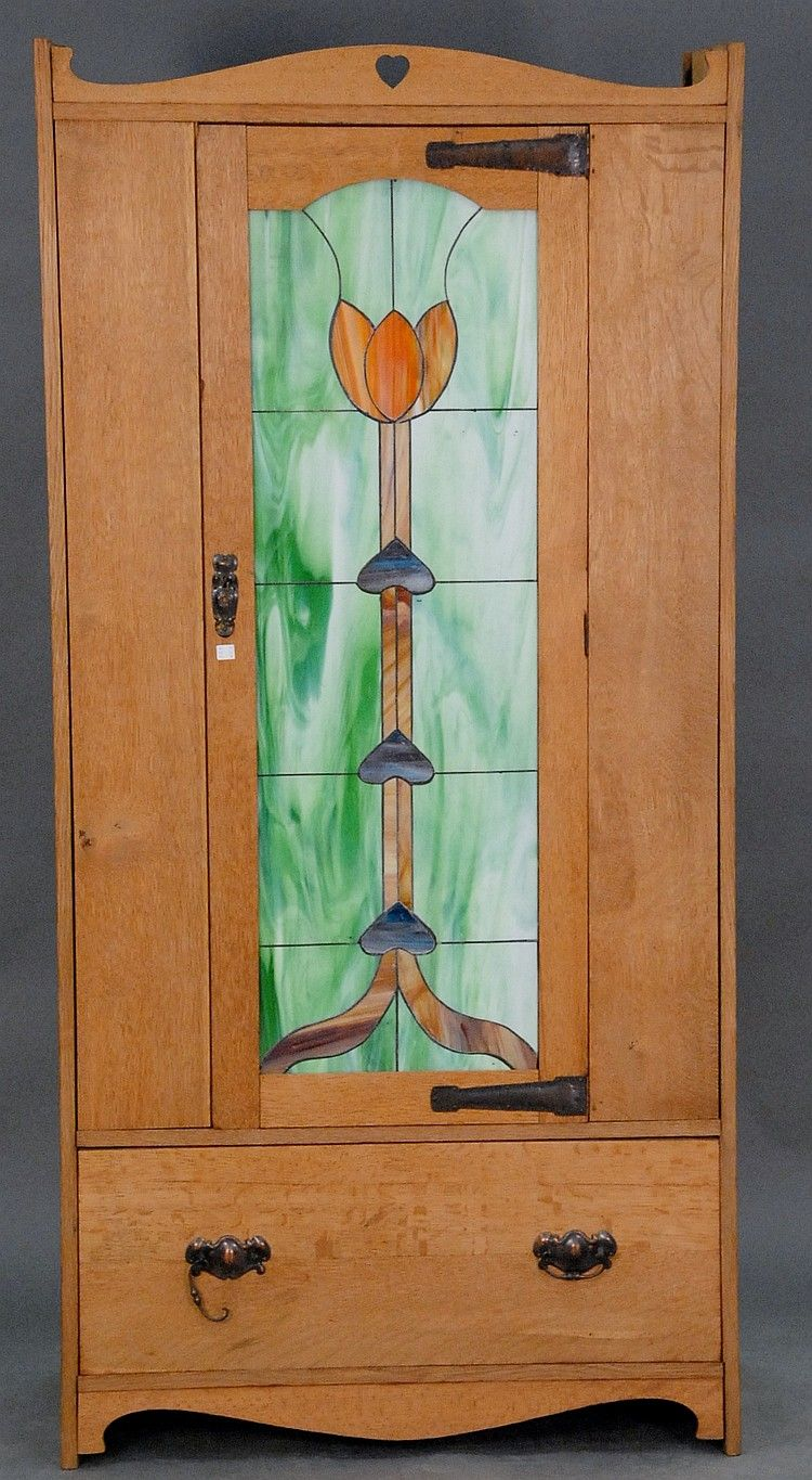 English Arts U0026 Crafts Oak Armoire In The Style Of C.A. Voysey Having A  Heart Shaped