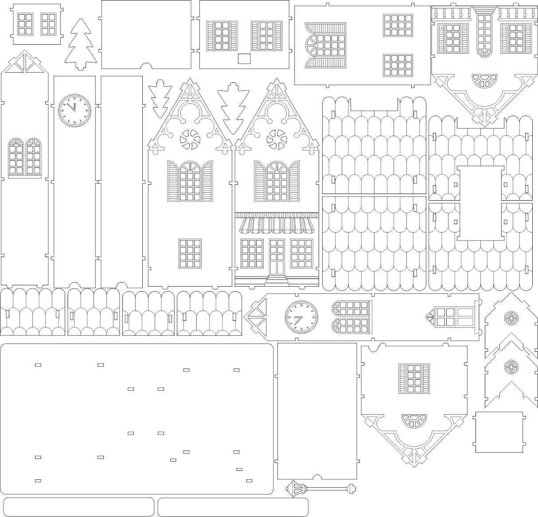 Casa del recuerdo en estilo europeo, dibujo, laser corte modelo ...
