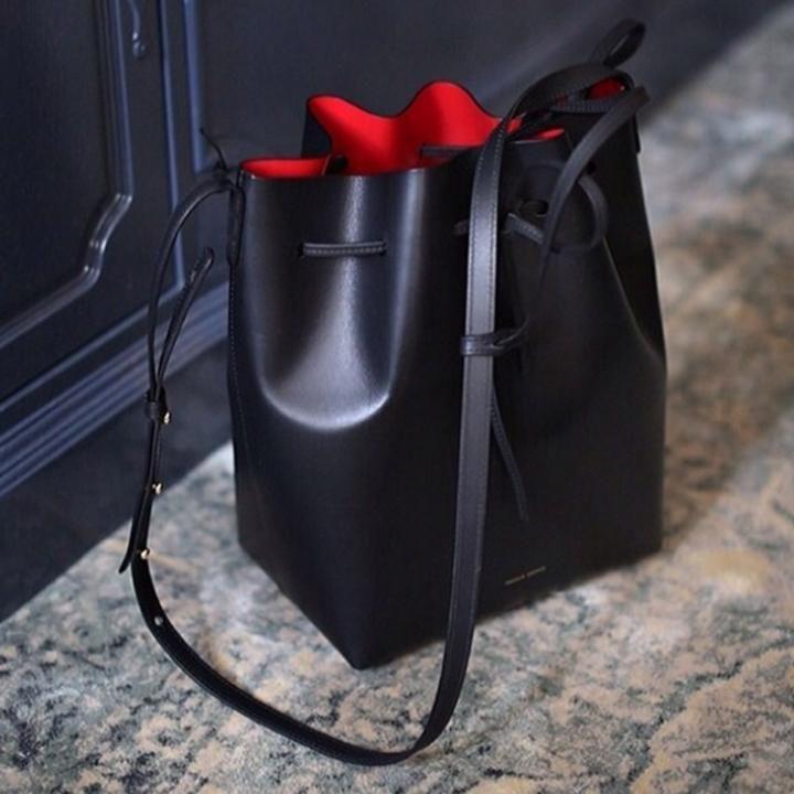 designer black bucket bags
