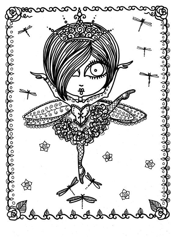 Coloring Book Downloads Funky Fairy Ballerina You be the Artist ...