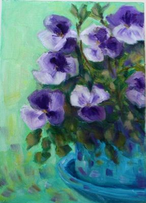 """Daily Paintworks - """"Pansy Purple"""" by Maggie Flatley"""
