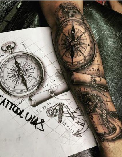 Photo of Idées de boussole de carte de tatouage à la mode