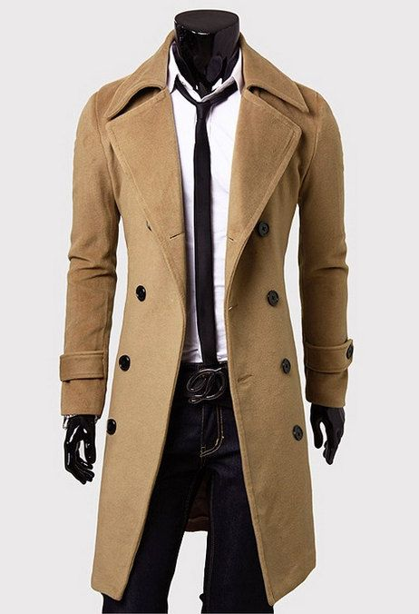 Mens British Style Double breasted Plus Long Jacket Casual Long ...