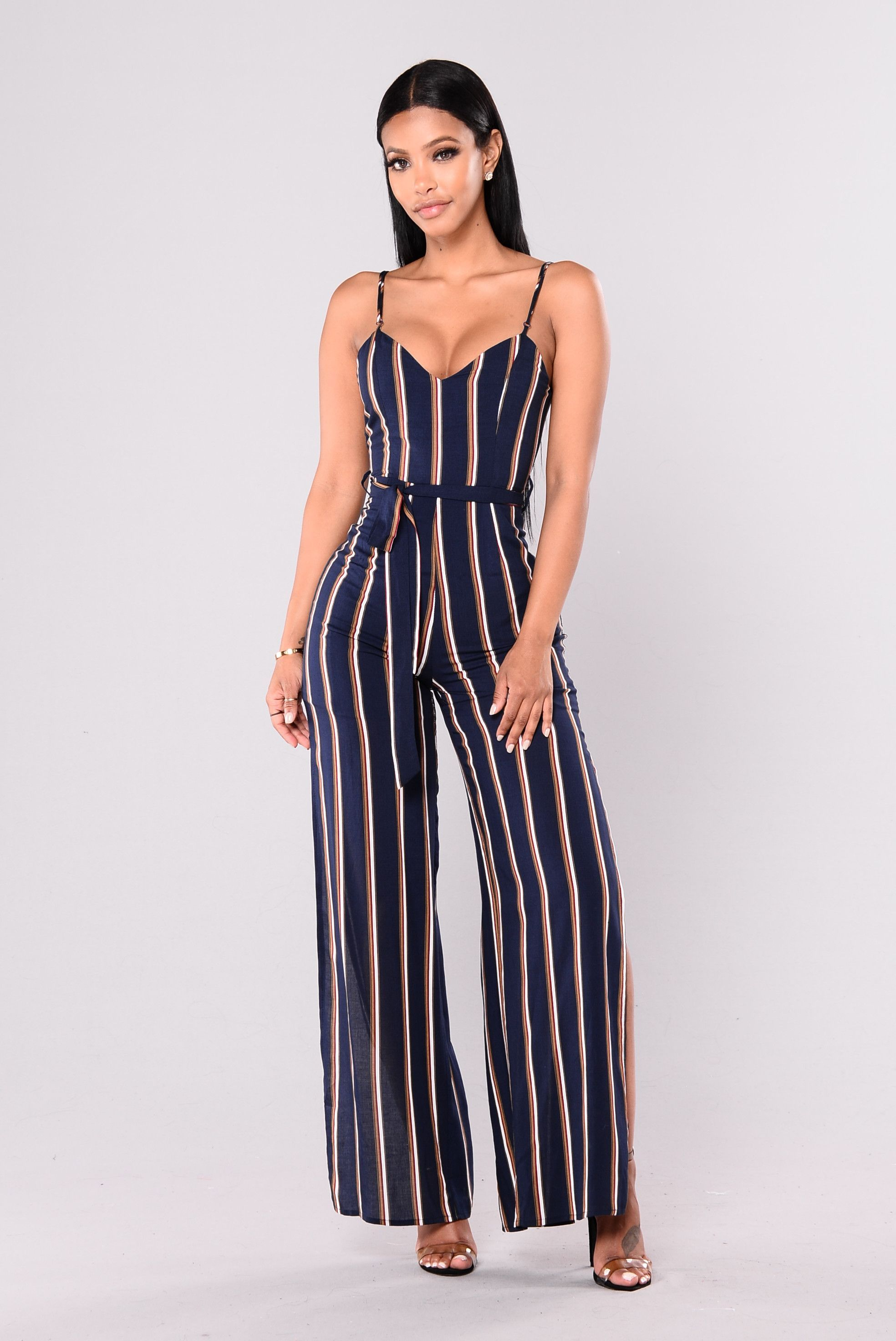 d57b9725940b Available In Navy Stripe Striped Jumpsuit Wide Leg V Neck Adjustable Straps  100% Rayon