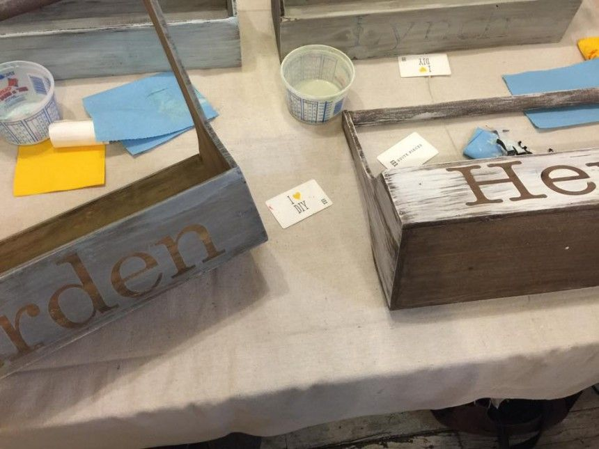 April 2015 Pinterest LIVE! Event | Decorative Wooden Totes using Miss Mustard Seed's Milk Paint | Suite Pieces
