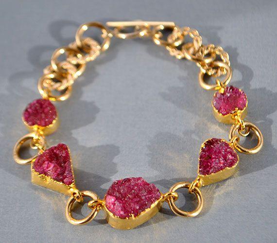 Red+Garnet+Bracelet++Druzy+Bracelet++January+by+MamacitaStudios,+$120.00