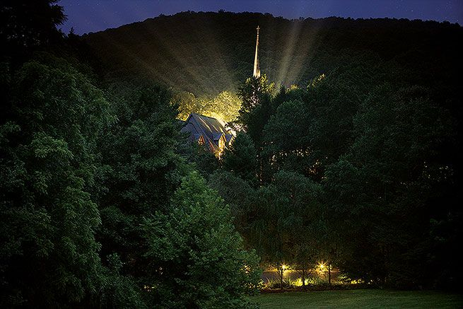 Chapel at night ~ Billy Graham Training Center at The Cove