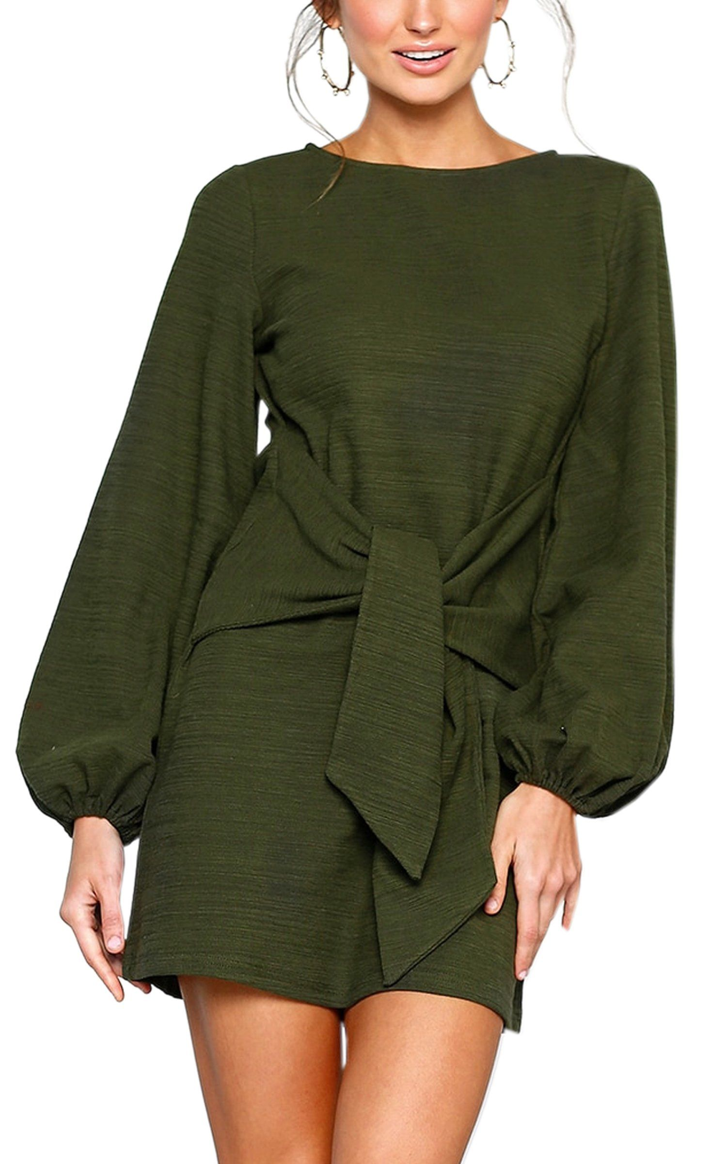 b28c91f430a ECOWISH Womens Dresses Casual Long Lantern Sleeve Tie Front Crew Neck  Bodycon Mini Dress Green L