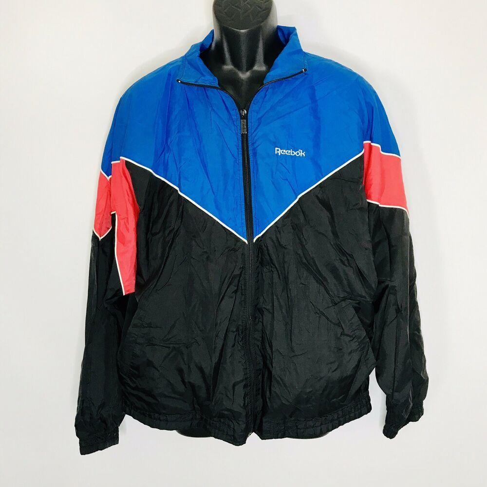 Vintage Reebok Track Jacket Mens L Color Block Black Red Blue Reebok Trackjacket Track Jackets Mens Jackets Jackets [ 1000 x 1000 Pixel ]