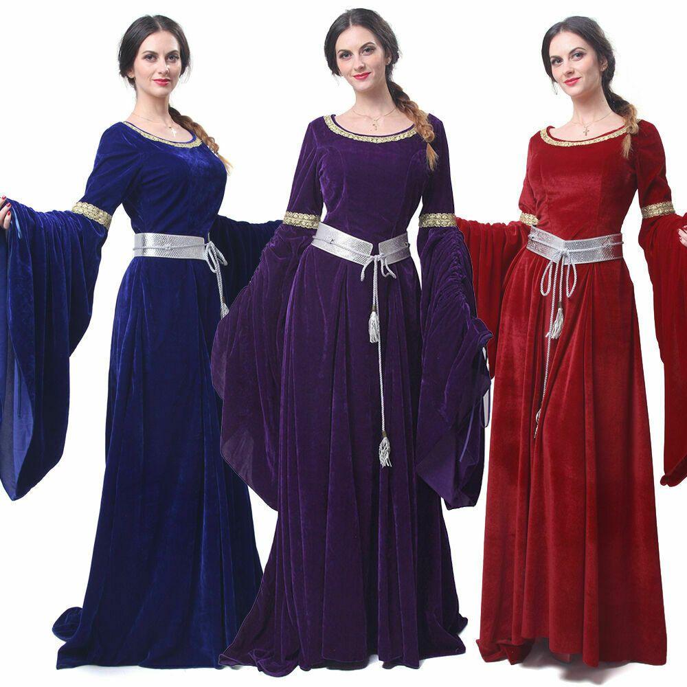 Hot Women Velvet Medieval Renaissance Long Dress Celtic Queen Gown Larp Costume