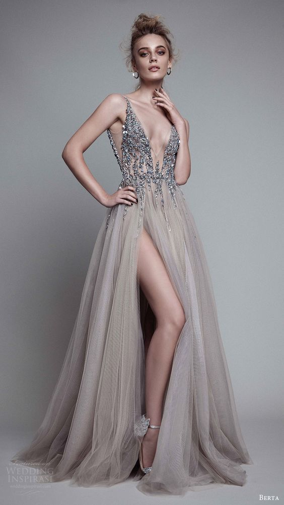 Ball Gown Gray Prom Dresses Grey Long Evening Gowns With Sparkle ...
