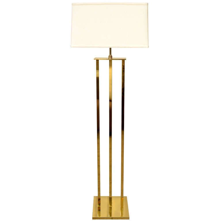 Modernist brass floor lamp by laurel