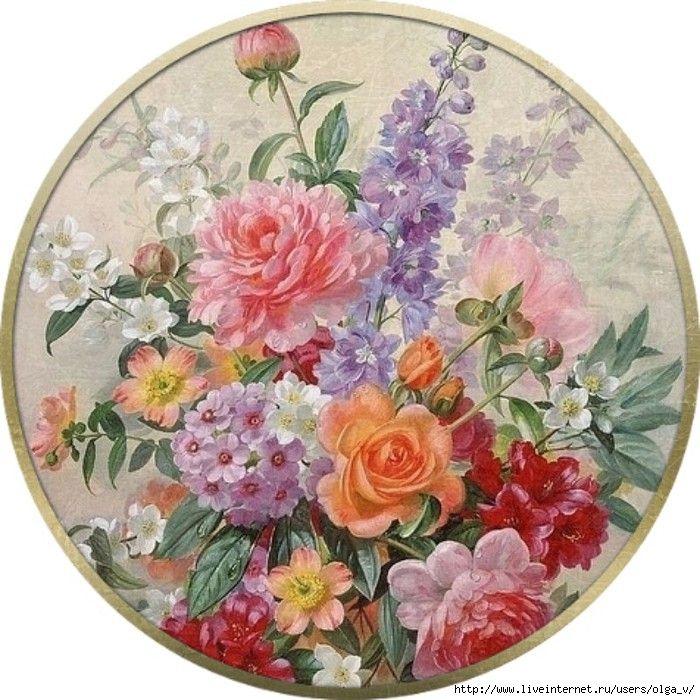 круглые картинки с цветами декупаж пашет как совраска
